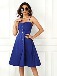 cheap -Women's Blushing Pink Blue Dress Basic Casual / Daily A Line Sheath Solid Colored Strap Black Blue Backless S M Slim / Belt Not Included