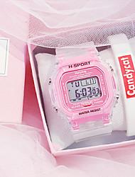 Недорогие -Жен. электронные часы Новое поступление Мода Белый силиконовый Цифровой Черный Розовое Золото Белый Защита от влаги Секундомер Новый дизайн 2шт Цифровой