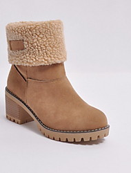 cheap -Women's Boots Chunky Heel Round Toe Suede Booties / Ankle Boots Winter Black / Orange / Green