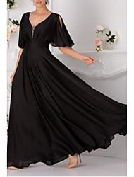 cheap -A-Line Elegant Formal Evening Dress V Neck Short Sleeve Floor Length Chiffon with Pleats 2020