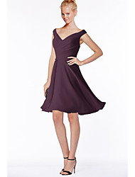 cheap -A-Line V Neck Above Knee Chiffon Bridesmaid Dress with Ruching