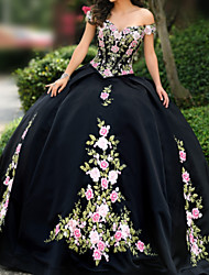 cheap -A-Line Elegant Prom Formal Evening Dress Strapless Short Sleeve Floor Length Lace Satin with Embroidery Appliques 2020