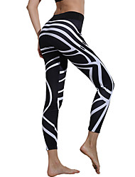 cheap -Women's High Waist Yoga Pants Winter Print White / Black Elastane Running Fitness Gym Workout Tights Leggings Sport Activewear Butt Lift Tummy Control Squat Proof High Elasticity Skinny