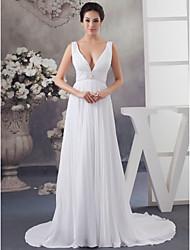 cheap -A-Line Wedding Dresses V Neck Chapel Train Chiffon Satin Regular Straps with Crystals Beading Draping 2021