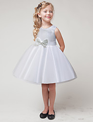 cheap -Kids Girls' Basic Cute Patchwork Solid Colored Sequins Bow Mesh Sleeveless Knee-length Dress White