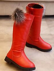 cheap -Girls' Flower Girl Shoes PU Boots Little Kids(4-7ys) Black / Burgundy / Red Winter / Mid-Calf Boots