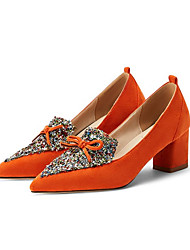 cheap -Women's Heels Chunky Heel Pointed Toe Bowknot Tissage Volant Business / British Spring &  Fall Black / Orange / Blue
