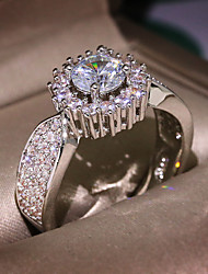 cheap -Women's Band Ring Promise Ring Cubic Zirconia 1pc Silver Rhinestone Silver Classic Vintage Wedding Engagement Jewelry Lovely