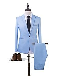 cheap -Men's Suits, Solid Colored Notch Lapel Polyester Wine / Khaki / Blue