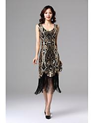 cheap -Latin Dance Dresses Women's Party / Performance Polyester / Spandex Tassel / Paillette Sleeveless Natural Dress