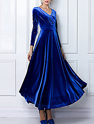 cheap -Women's Sheath Dress Maxi long Dress - Long Sleeve Solid Colored V Neck Plus Size Hot Going out Loose Velvet Black Purple Wine Green Royal Blue S M L XL XXL 3XL