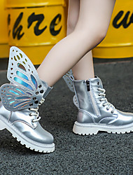 cheap -Girls' Combat Boots Synthetics Boots Little Kids(4-7ys) / Big Kids(7years +) Bowknot / Studded Black / Silver Spring / Fall / Mid-Calf Boots / Party & Evening