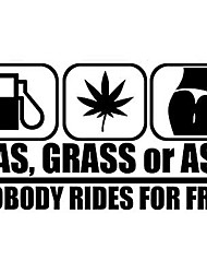 cheap -2pcs GAS GRASS OR ASS Nobody Rides For Free Car Window Vinyl Decal Personality Car Sticker