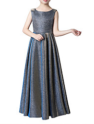cheap -A-Line Jewel Neck Floor Length Poly&Cotton Blend Junior Bridesmaid Dress with Side Draping