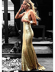 cheap -Mermaid / Trumpet Plunging Neck Sweep / Brush Train Sequined Beautiful Back Prom Dress with Pleats 2020