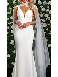 cheap -Mermaid / Trumpet High Neck Watteau Train Stretch Satin Cap Sleeve Cape Wedding Dresses with Buttons 2020