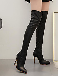 cheap -Women's Boots Over-The-Knee Boots Stiletto Heel Pointed Toe PU Over The Knee Boots Fall & Winter Black