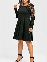 cheap -Women's Plus Size Black Dress Elegant Date Party & Evening A Line Solid Colored Lace Ruffle Patchwork XL XXL Loose