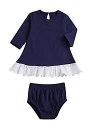 baratos -bebê Para Meninas Moda de Rua Sólido Manga Longa Padrão Conjunto Azul Marinha