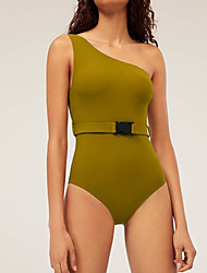 cheap -Women's Basic Green Halter High Waist One-piece Swimwear - Solid Colored S M L Green