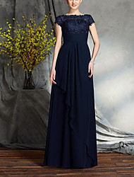 cheap -A-Line Bateau Neck Floor Length Chiffon / Lace Short Sleeve Elegant & Luxurious Mother of the Bride Dress with Sash / Ribbon / Ruffles 2020