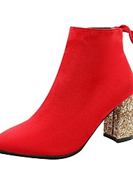 cheap -Women's Boots Chunky Heel Pointed Toe Suede Booties / Ankle Boots Casual / Minimalism Spring / Fall & Winter Black / Red / Wedding