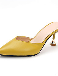 cheap -Women's Clogs & Mules Stiletto Heel Pointed Toe Faux Leather / Patent Leather Casual / Minimalism Spring & Summer Black / White / Yellow