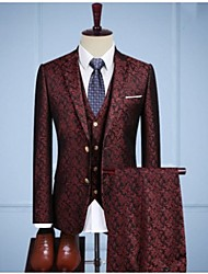 cheap -Burgundy vintage jacquard Custom Suit