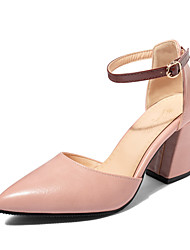 cheap -Women's Heels Chunky Heel Pointed Toe PU Casual / Minimalism Spring & Summer Light Brown / Pink / Beige