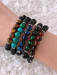 cheap -Men's Black Bead Bracelet Vintage Bracelet Earrings / Bracelet Beaded Weave Simple Classic Vintage Trendy Fashion Stone Bracelet Jewelry Brown / White / Dark Red For Gift Daily Holiday Club Festival
