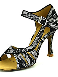 cheap -Women's Dance Shoes Lace Latin Shoes Buckle Heel Flared Heel Black / White