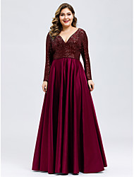 cheap -A-Line V Neck Floor Length Satin / Sequined Long Sleeve Plus Size Mother of the Bride Dress with Beading 2020