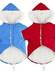 baratos -Cachorros Casacos Camisola com Capuz Inverno Roupas para Cães Verde Vermelho Azul Ocasiões Especiais Poliéster Sólido Fantasias S M L XL