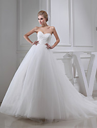 cheap -A-Line Wedding Dresses Sweetheart Neckline Chapel Train Lace Satin Tulle Strapless with Beading Appliques 2020