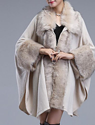cheap -3/4 Length Sleeve Coats / Jackets / Capes Plush / Imitation Cashmere Wedding / Party / Evening Women's Wrap With Solid / Fur
