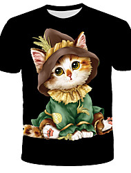 cheap -Men's Daily Holiday Street chic / Exaggerated T-shirt - 3D / Animal / Tie Dye Print Black