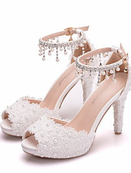 cheap -Women's Wedding Shoes Stiletto Heel Peep Toe Daily Solid Colored PU White