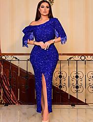 cheap -Women's Elegant Maxi Slim Sheath Dress - Solid Colored One Shoulder Blue S M L XL