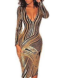 cheap -Women's Sheath Dress - Striped Gold S M L XL