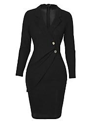 cheap -Women's Wrap Dress Knee Length Dress Wine Gray Black Long Sleeve Solid Color Fall Shirt Collar Work 2021 S M L XL XXL
