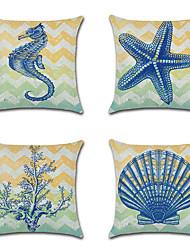 cheap -Set of 4 Linen Pillow Cover, Animal Nautical Cartoon Mediterranean Throw Pillow