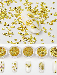 cheap -5 Boxes Japanese 3D Shiny Glitter DIY Metal Alloy Nail Art Decorations Gold Rivet Manicure Accessories Shell Flatback Rivet Nail Studs