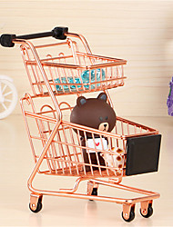 cheap -Mini Supermarket Handcart Wheel Shopping Carts Toys Creative Double-deck Folding Shopping Cart Basket Toys for Children