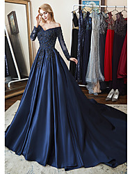 cheap -A-Line Off Shoulder Chapel Train Lace / Satin Elegant Formal Evening Dress with Beading / Appliques / Pleats 2020