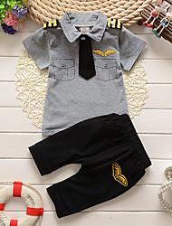 Недорогие -малыш Мальчики Классический Белый / Красный С принтом С принтом С короткими рукавами Длинный Длинная Набор одежды Белый
