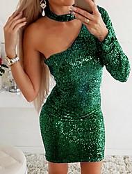 cheap -Women's Elegant Sheath Dress - Solid Colored Black Wine Gold S M L XL