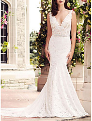 cheap -Mermaid / Trumpet V Neck Court Train Lace Regular Straps Made-To-Measure Wedding Dresses with Beading 2020