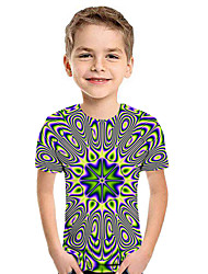 cheap -Kids Boys' Active Street chic Geometric 3D Patchwork Print Short Sleeve Hoodie & Sweatshirt Yellow