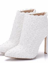abordables -Femme Chaussures de mariage Talon Aiguille Bout pointu Polyuréthane Bottes Mi-mollet Automne hiver Blanche / Mariage