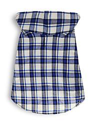 cheap -Dog Vest Winter Dog Clothes Blue Costume Cotton Plaid / Check Cosplay XS S M L